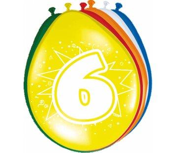 Verjaardag Ballonnen 6 jaar 30cm - 8 stuks