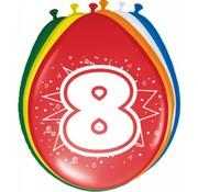 Verjaardag Ballonnen 8 jaar 30cm - 8 stuks
