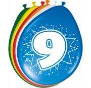 Verjaardag Ballonnen 9 jaar - 8 stuks