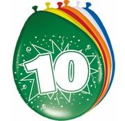 Verjaardag Ballonnen 10 jaar 30cm - 8 stuks