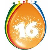 Verjaardag Ballonnen 16 jaar 30cm - 8 stuks
