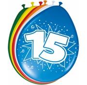 Verjaardag Ballonnen 15 jaar 30cm - 8 stuks