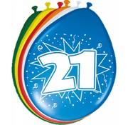 Verjaardag Ballonnen 21 jaar 30 cm - 8 stuks