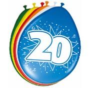 Verjaardag Ballonnen 20 jaar 30 cm - 8 stuks