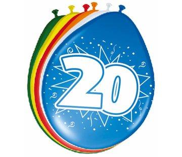 Verjaardag Ballonnen 20 jaar 30cm - 8 stuks