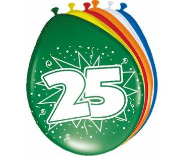 Verjaardag Ballonnen 25 jaar 30cm - 8 stuks