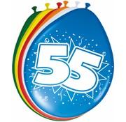 Verjaardag Ballonnen 55 jaar 30cm - 8 stuks