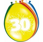 Verjaardag Ballonnen 30 jaar 30cm - 8 stuks