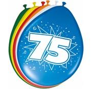Verjaardag Ballonnen 75 jaar 30cm - 8 stuks