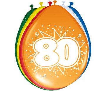 Verjaardag Ballonnen 80 jaar 30cm - 8 stuks