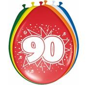 Verjaardag Ballonnen 90 jaar 30cm - 8 stuks