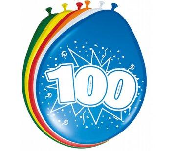 Verjaardag Ballonnen 100 jaar 30 cm - 8 stuks