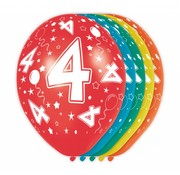 Verjaardag Ballonnen 4 jaar 30 cm - 5 stuks