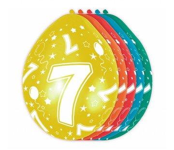 Verjaardag Ballonnen 7 jaar 30cm - 5 stuks