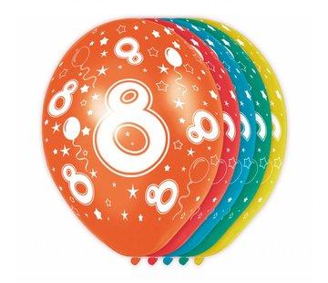 Verjaardag Ballonnen 8 jaar 30cm - 5 stuks
