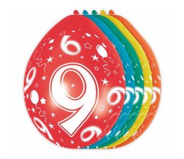 Verjaardag Ballonnen 9 jaar 30cm - 5 stuks