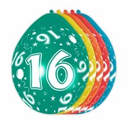 Verjaardag Ballonnen 16 jaar 30cm - 5 stuks