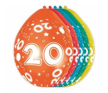 Verjaardag Ballonnen 20 jaar 30cm - 5 stuks