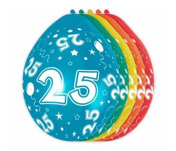 Verjaardag Ballonnen 25 jaar 30cm - 5 stuks