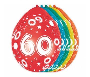 Verjaardag Ballonnen 60 jaar 30cm - 5 stuks