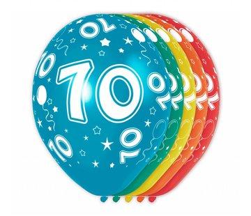 Verjaardag Ballonnen 70 jaar 30cm - 5 stuks