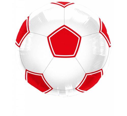 Folie Ballon Voetbal Rood/Wit 43cm - per stuk