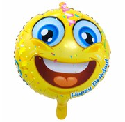 Folie Ballon Happy Birthday Emoji 43cm - per stuk