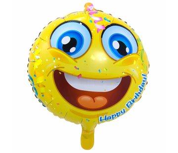 Folie Ballon Happy Birthday Emoji - per stuk