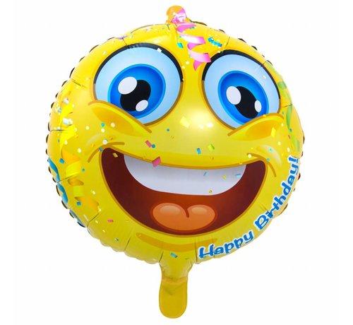 Folie Ballon Happy Birthday Emoji 43cm - per stuk