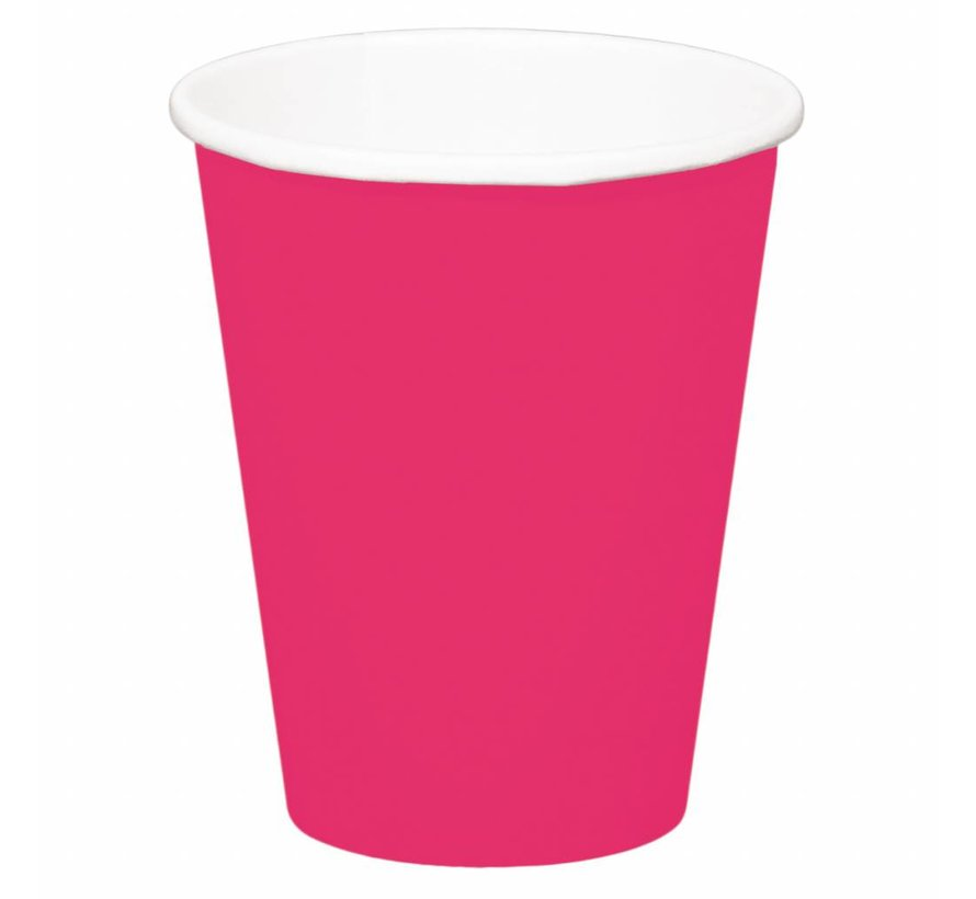Wegwerp Bekertjes Roze 350 ml - 8 stuks