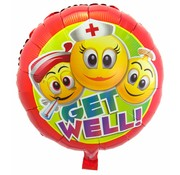 Folie Ballon Get Well Emoji - per stuk