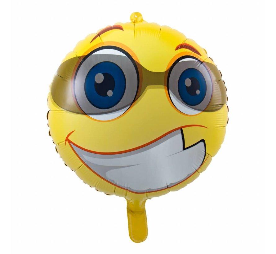 Folie Ballon Blije Emoji met Zonnebril 43cm - per stuk
