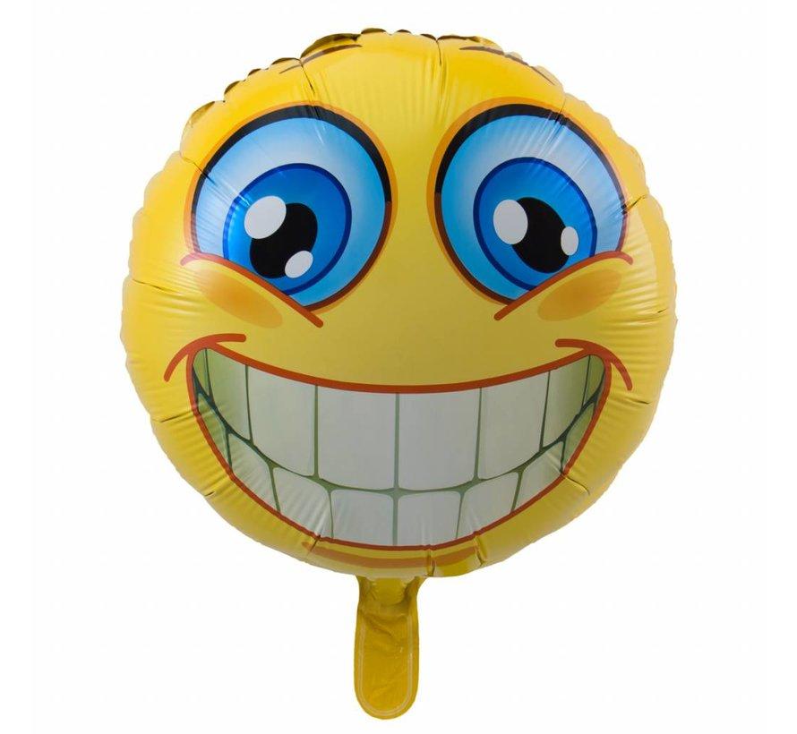 Folie Ballon Blije Emoji met Glimlach 43cm - per stuk