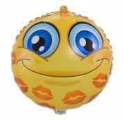 Folie Ballon Blije Emoji met Kusjes - per stuk
