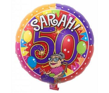 Folie Ballon Sarah 50 Jaar 43cm - per stuk