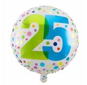 Folie Ballon 25 Jaar Regenboog Stippen 45cm - per stuk