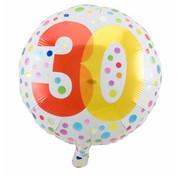 Folie Ballon 30 Jaar Regenboog Stippen - per stuk