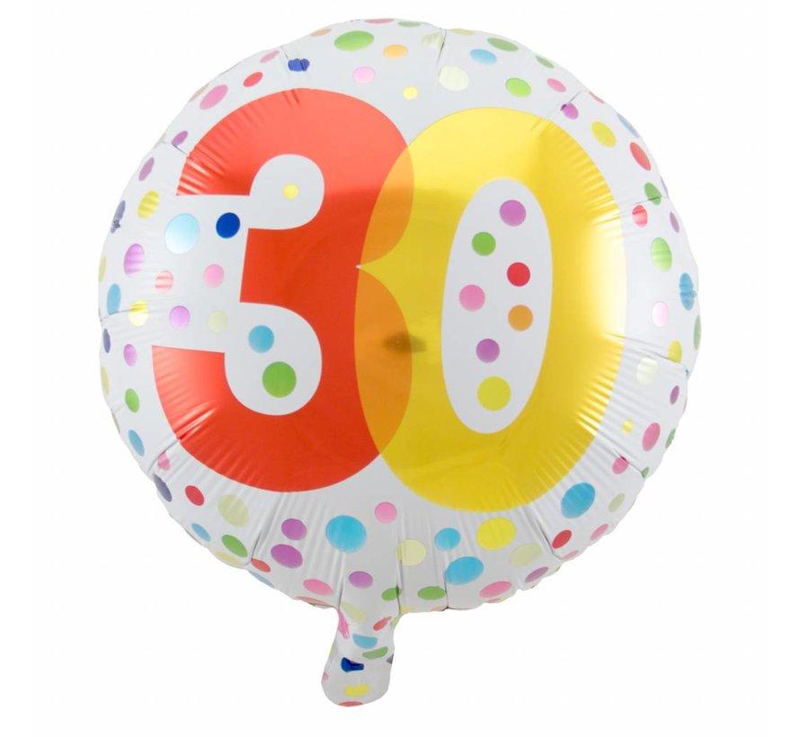 Folie Ballon 30 Jaar Regenboog Stippen 45cm - per stuk