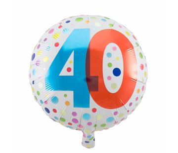 Folie Ballon 40 Jaar Regenboog Stippen - per stuk