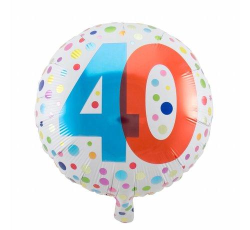 Folie Ballon 40 Jaar Regenboog Stippen 45cm - per stuk