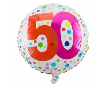 Folie Ballon 50 Jaar Regenboog Stippen - per stuk