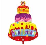 Folie Ballon Happy Birthday Taart - per stuk