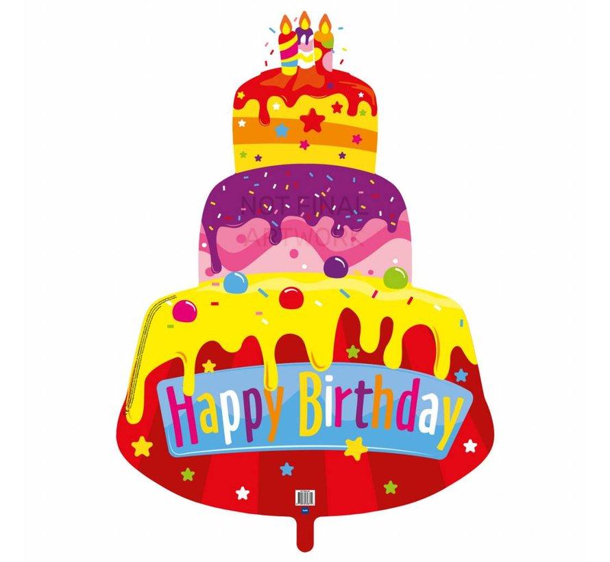 Folie Ballon Happy Birthday Taart 67cm - per stuk