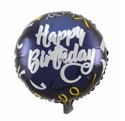 Folie Ballon Happy Birthday Zwart & Goud 45cm - per stuk