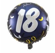 Folie Ballon 18 Jaar Zwart & Goud - per stuk