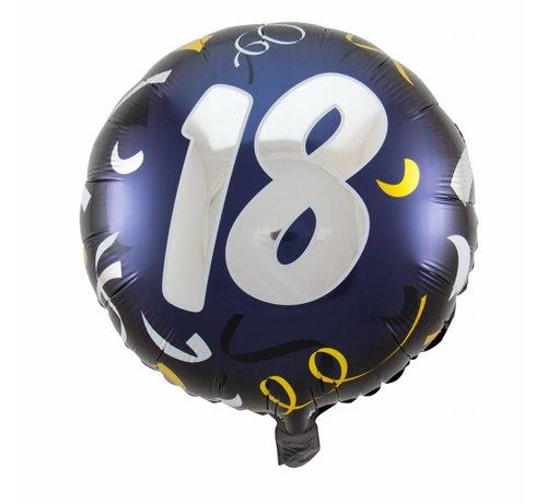 Folie Ballon 18 Jaar Zwart & Goud 45cm - per stuk