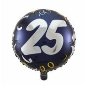 Folie Ballon 25 Jaar Zwart & Goud - per stuk
