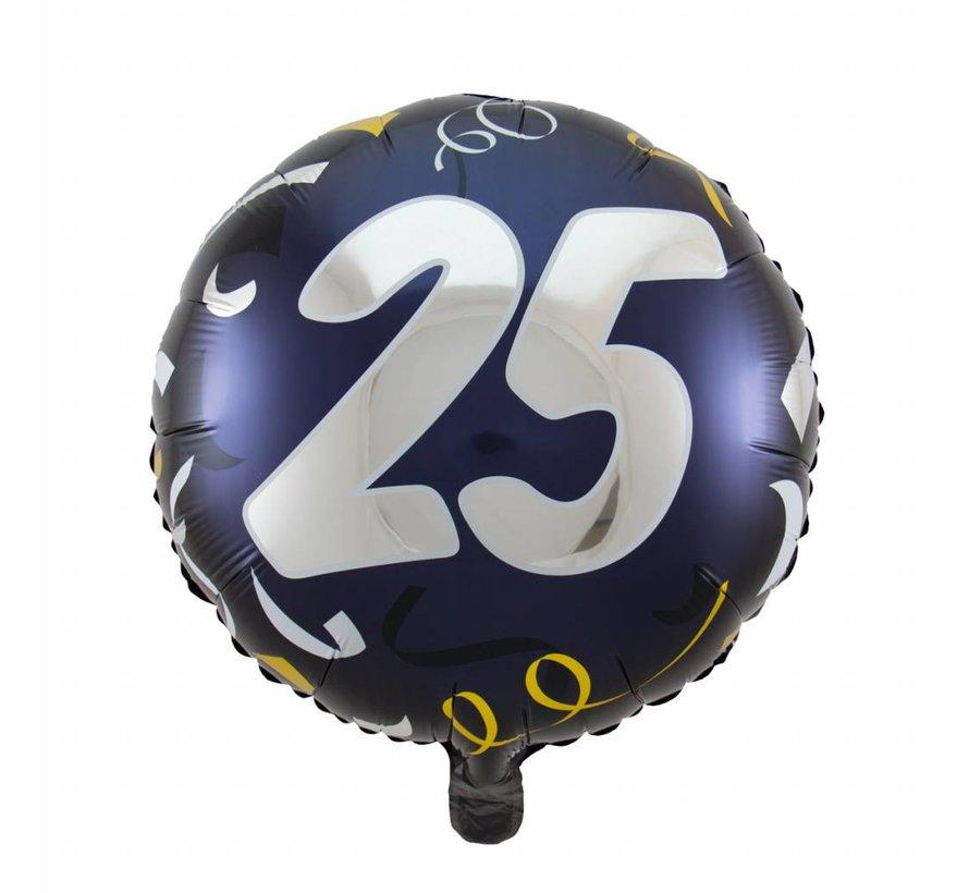 Folie Ballon 25 Jaar Zwart & Goud 45cm - per stuk