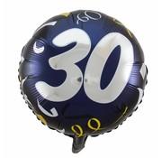 Folie Ballon 30 Jaar Zwart & Goud 45cm - per stuk