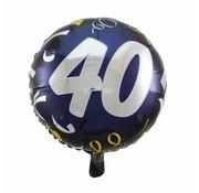 Folie Ballon 40 Jaar Zwart & Goud - per stuk